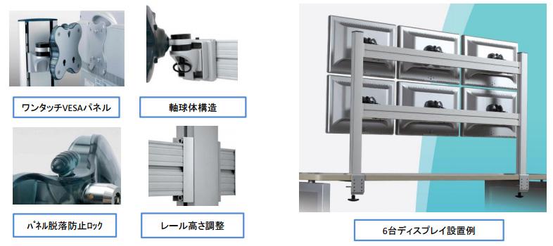 Belltech 3台フラット型ツールバーシステム モニターアーム (EGTB-4513)