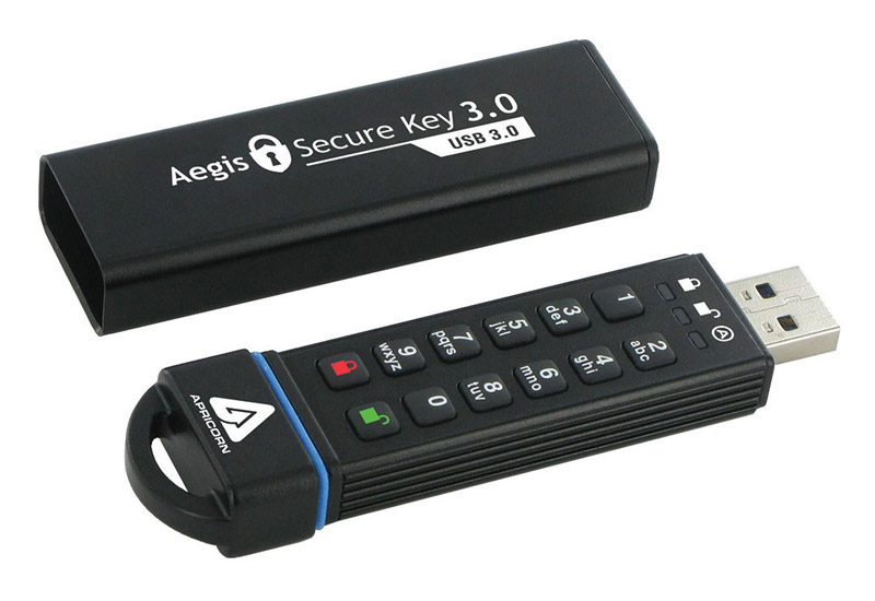 Apricorn Aegis Secure Key 16GB 暗証番号データセキュリティUSB3.0メモリ (ASK3-16GB)