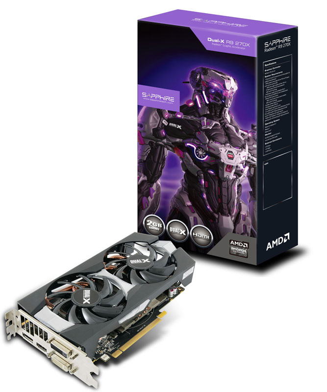 Sapphire R9 270X 2G GDDR5 PCI-E DVI-I / DVI-D / HDMI / DP DUAL-X WITH BOOST & OC VERSION (11217-01-20G/SA-R9270X-2GD5OCR01)