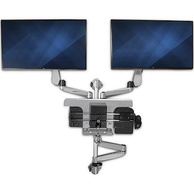StarTech 壁面固定用液晶モニターアーム&キーボード・マウストレイ 2画面対応 多関節アーム ウォールマウント昇降デスク|WALLSTSI2