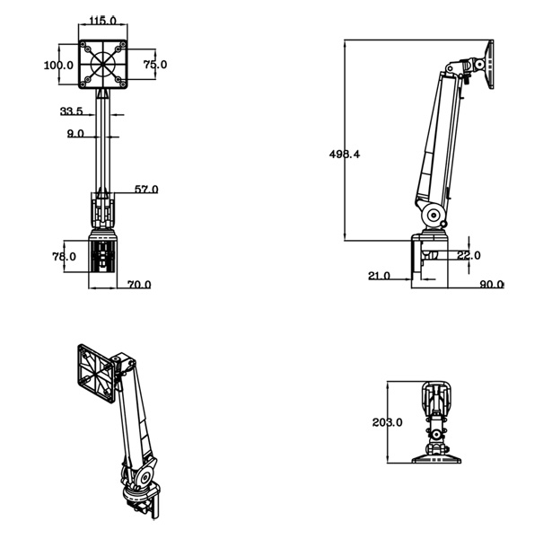 【処分特価】Dorfield 垂直アーム TKLA2032B ブラック (TKLA-2032-B)