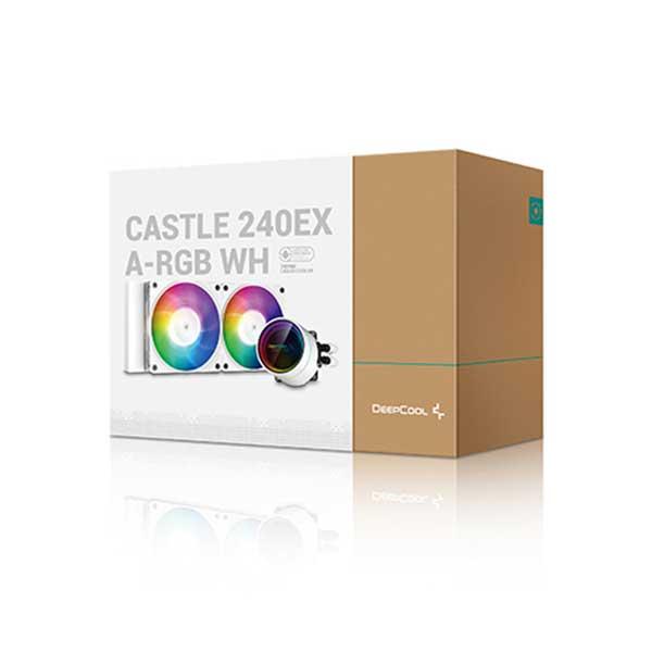 Deepcool CASTLE 240EX A-RGB WH  AIO液体式CPUクーラー CF120A-RGB PWMファンx2 ホワイト DP-GS-H12W-CSL240EX-AR-WH