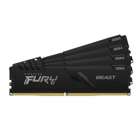 Kingston 64GB(16GBx4) DDR4 3200MHz (PC4-25600) CL16 DIMM FURY Beast ブラック|KF432C16BBK4/64