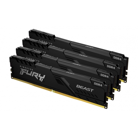 Kingston 64GB(16GBx4) DDR4 3600MHz (PC4-28800) CL18 DIMM FURY Beast ブラック KF436C18BBK4/64