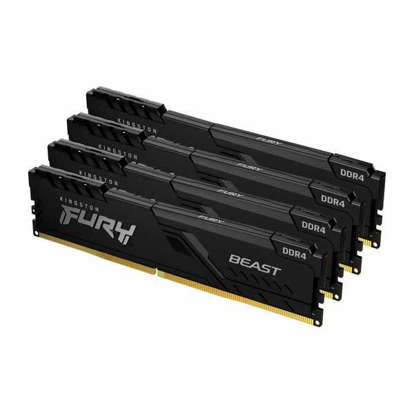 Kingston 128GB(32GBx4) DDR4 3600MHz CL18 DIMM FURY Beast ブラック|KF436C18BBK4/128