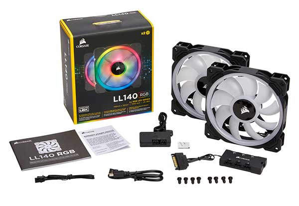 Corsair LL140 RGB 2Fan Pack with Lighting Node PRO 140mm径ファン|CO-9050074-WW