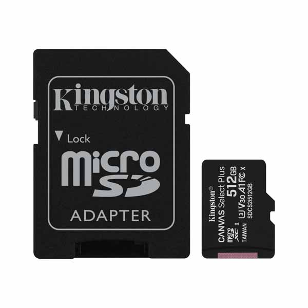 Kingston 512GB micSDXC Canvas Select Plus microSD メモリカード 100R A1 C10 Card + SDアダプタ|SDCS2/512GB