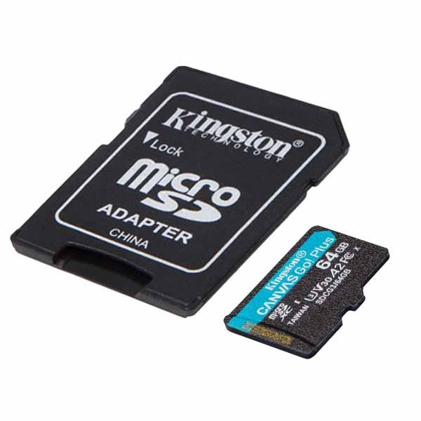 Kingston 64GB microSDXC Canvas Go! Plus microSDメモリカード 170R A2 U3 V30 Card + SDアダプタ SDCG3/64GB