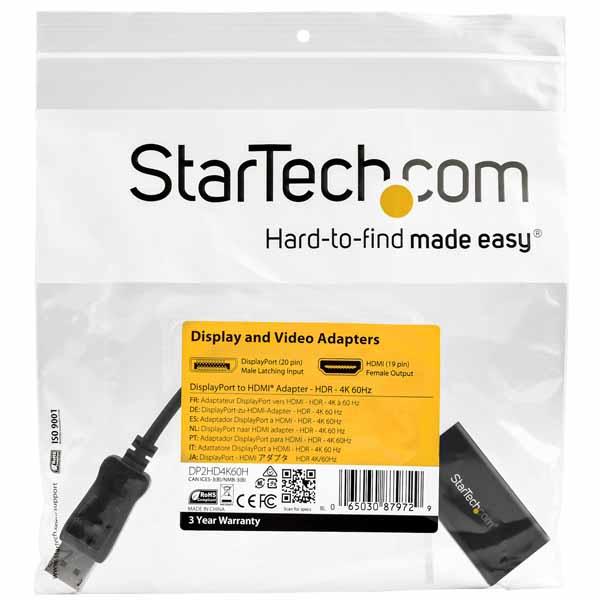 StarTech DisplayPort - HDMI 変換アダプタ HDR対応 4K/60Hz ディスプレイポート(オス) - HDMI(メス) DP2HD4K60H