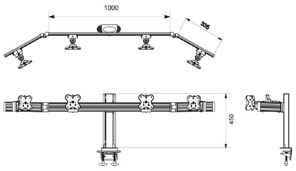 Belltech 4台レールシステム VESA規格対応 (EGAR-4514W)