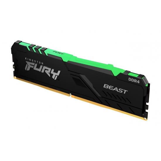 Kingston 16GB(16GBx1) DDR4 2666MHz (PC4-21300) CL16 DIMM 1Gx8 FURY Beast RGB|KF426C16BB1A/16