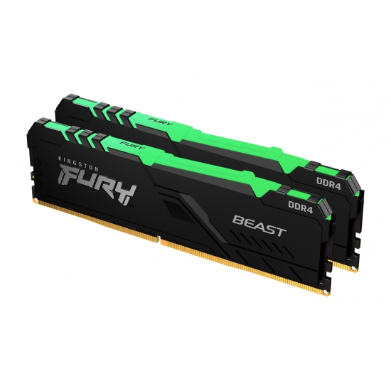 Kingston 32GB(16GBx2) DDR4 2666MHz (PC4-21300) CL16 DIMM 1Gx8 FURY Beast RGB|KF426C16BB1AK2/32