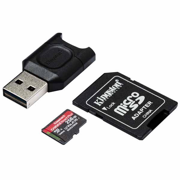 Kingston 256GB Canvas React Plus microSDXC メモリカード 285R UHS-II w/SDアダプタ+MLPM リーダー|MLPMR2/256GB