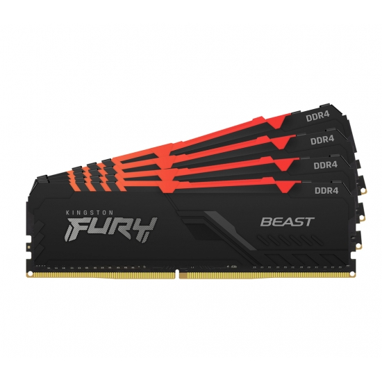 Kingston 64GB(16GBx4) DDR4 2666MHz (PC4-21300) CL16 DIMM 1Gx8 FURY Beast RGB KF426C16BB1AK4/64