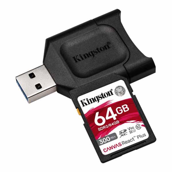 Kingston 64GB Canvas React Plus SDXC メモリカード 300R/260W UHS-II + MLP SDリーダー MLPR2/64GB