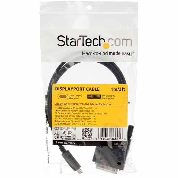 StarTech USB-C - DVI変換アダプタケーブル 1m 1920x1200対応 入力:USB Type-C(オス) - 出力:DVI-D(オス)|CDP2DVIMM1MB