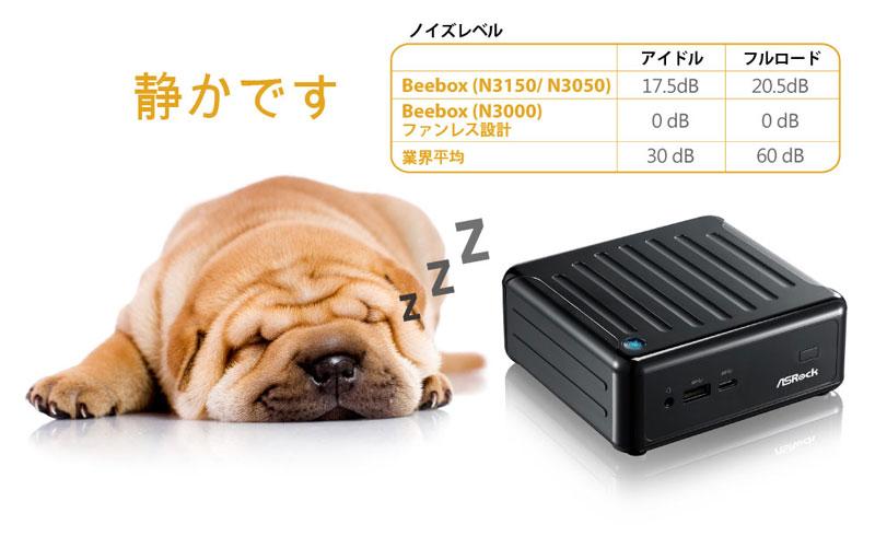 ASRock Beebox インテルN3150搭載 ファン付き OSなし ミニPC ホワイト (N3150-4G128S/W)