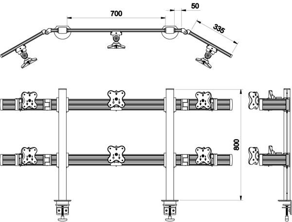 Belltech 6台水平3台2段のツールバーシステム モニターアーム (EGTB-8026W)