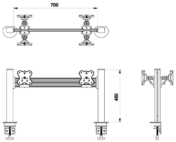 Belltech 両面水平2台ツールバーシステム モニターアーム(EGTB-4512D)