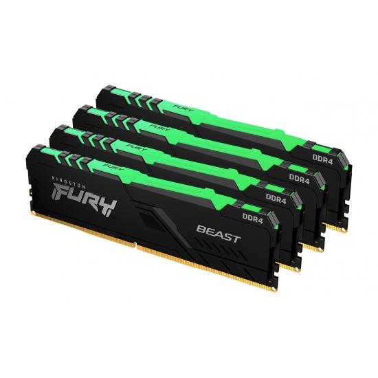 Kingston 128GB(32GBx4) DDR4 2666MHz (PC4-21300) CL16 DIMM FURY Beast RGB KF426C16BBAK4/128