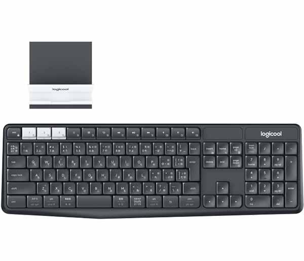ロジクール マルチデバイス ワイヤレス キーボード&スタンド セットモデル グラファイト/オフホワイト|K370S