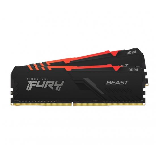 Kingston 32GB(16GBx2) DDR4 3000MHz (PC4-24000) CL15 DIMM 1Gx8 FURY Beast RGB KF430C15BB1AK2/32