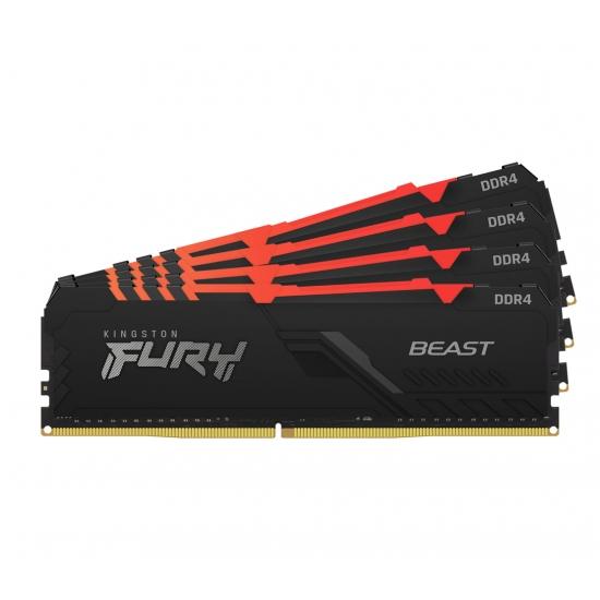 Kingston 64GB(16GBx4) DDR4 3000MHz (PC4-24000) CL15 DIMM 1Gx8 FURY Beast RGB|KF430C15BB1AK4/64