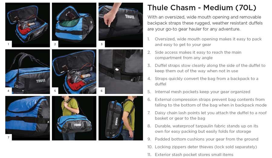 【クリアランス特価】Thule Chasm Medium 70リットル ダッフルパック Dark Shadow (202200)
