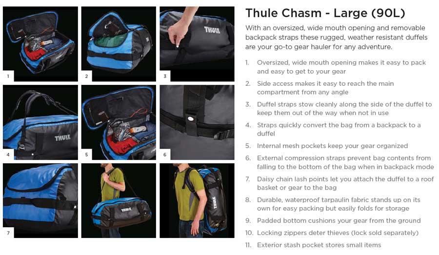 【クリアランス特価】Thule Chasm Large 90リットル ダッフルパック Dark Shadow (202700)
