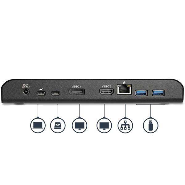 StarTech USB Type-C接続ノートPCパソコン用ドッキングステーション デュアルモニター(HDMI/Displayport)対応 4K対応 USB Power Delivery(USB PD)対応 USB-Cポート1基搭載|MST30C2DPPD