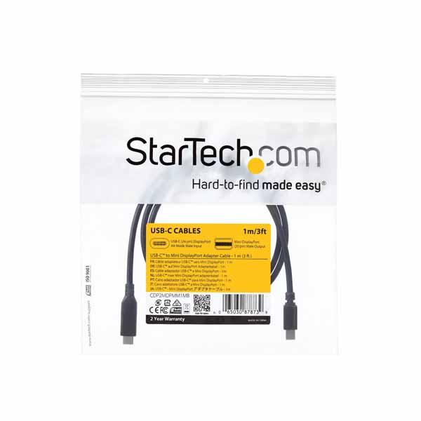 StarTech 1m USB-C - Mini DisplayPortケーブル 4K/60Hz ブラック USB Type-C - mDPケーブル|CDP2MDPMM1MB