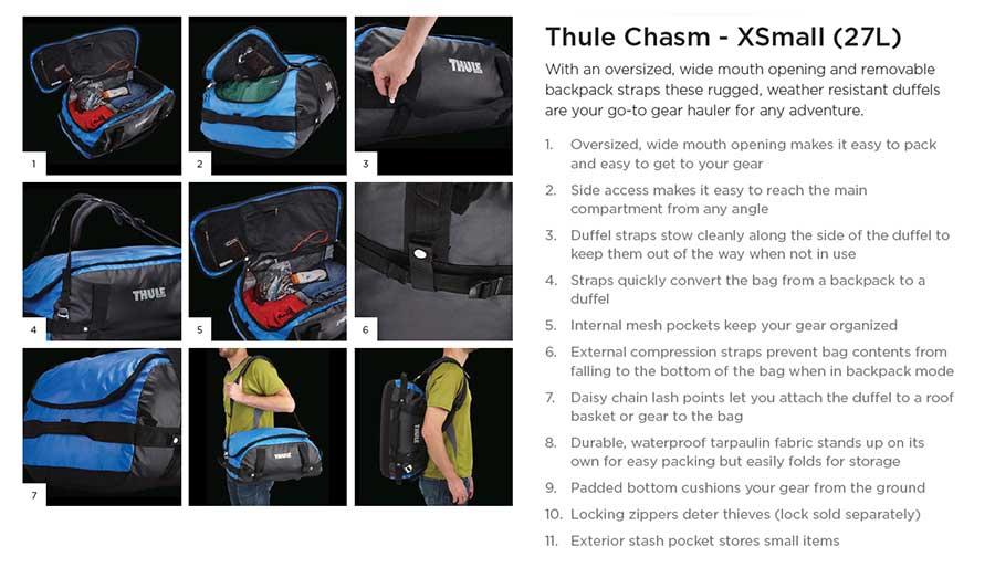 【クリアランス特価】Thule Chasm XS 27リットル ダッフルパック Aqua (201500)