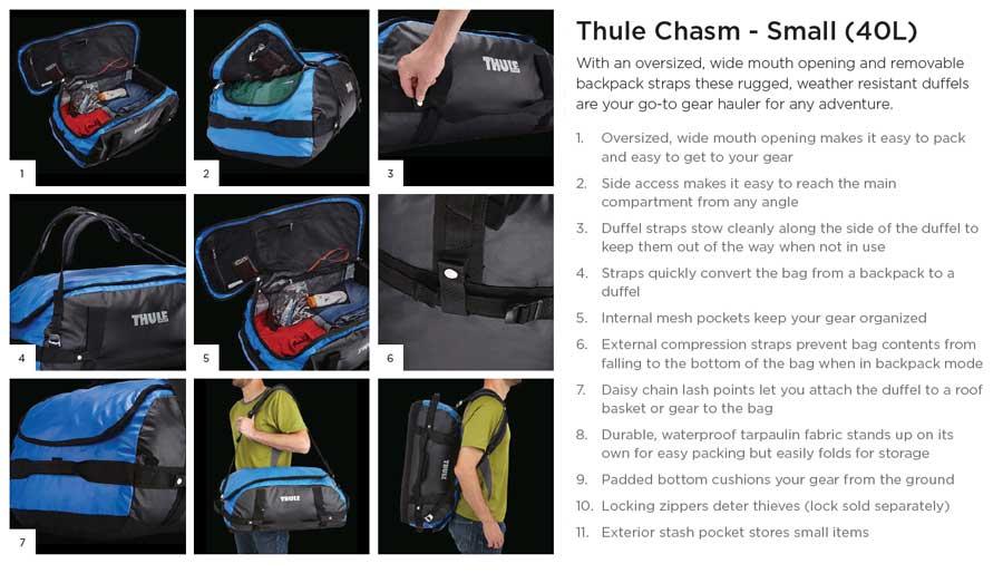 【クリアランス特価】Thule Chasm Small 40リットル ダッフルパック Dark Shadow (201600)