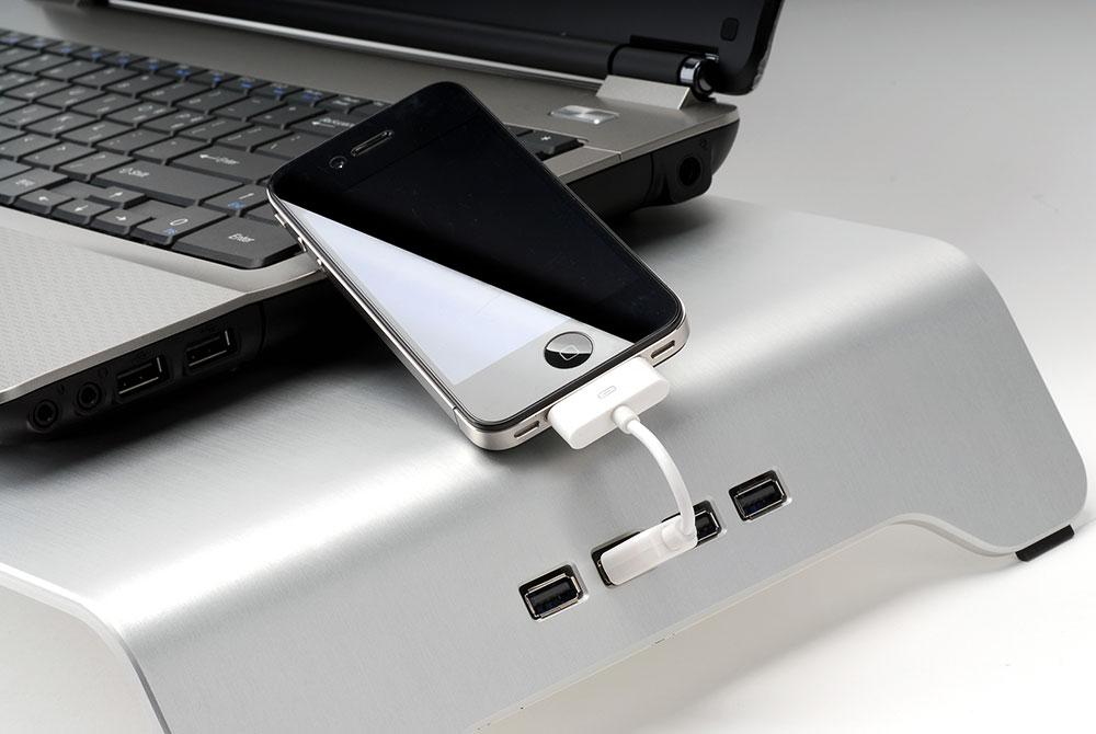 ZALMAN USBハブ搭載アルミニウム製モニタスタンド ブラック (DS1000BK)