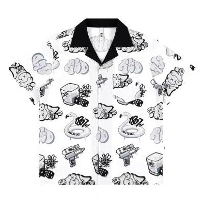 グラフィティ柄開襟半袖シャツ