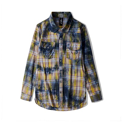 【各色1点】ダーティカラーチェックシャツ