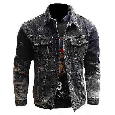 デザインスリーブダメージブラックデニムジャケット