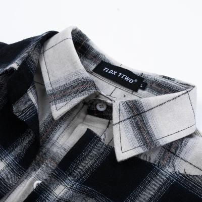 リメイク風カットオフチェック長袖シャツ