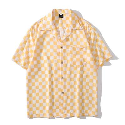 《2色》ブロックチェック半袖シャツ