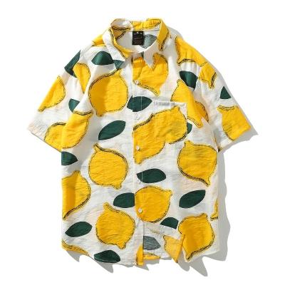 レモン柄半袖シャツ