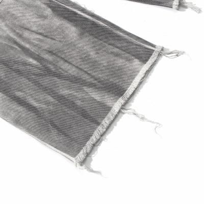 ブラックブリーチワイドデニムパンツ