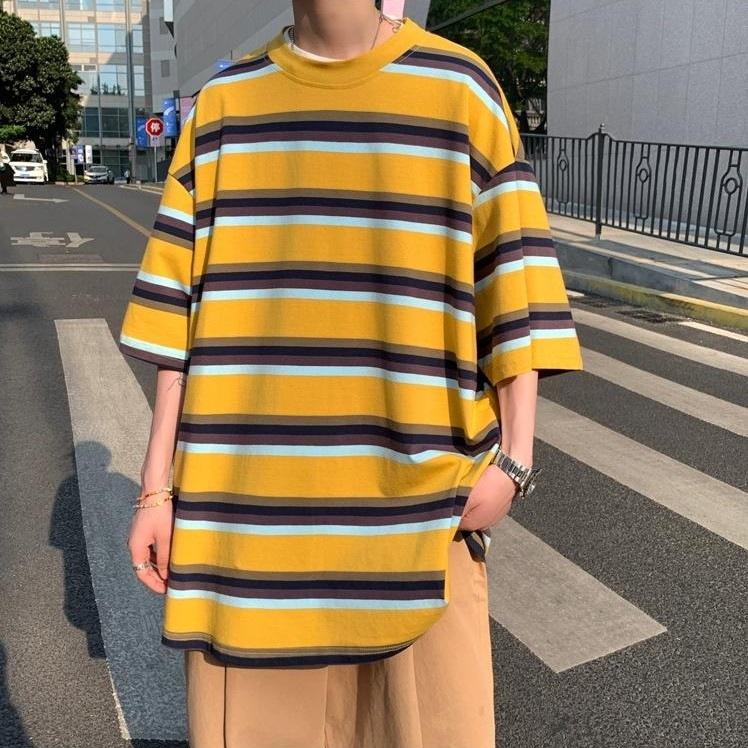 ビッグシルエットイエローボーダーTシャツ