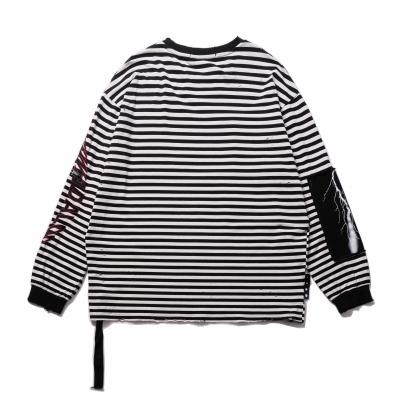 オーバーサイズダメージボーダーロングTシャツ