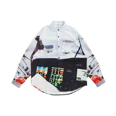 ヘリコプターグラフィックシャツ