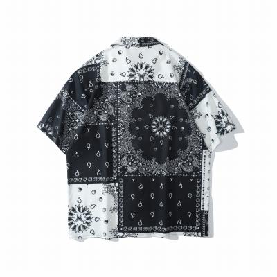 B&Wバンダナ柄ペイズリー半袖シャツ