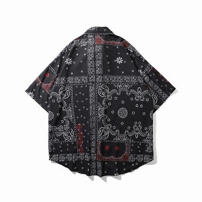 ドロップショルダーパッチワークバンダナ柄ペイズリー半袖シャツ
