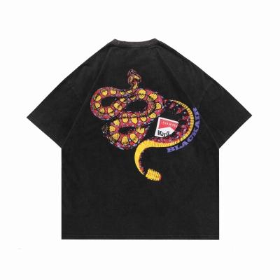 予約開始 《2色》オーバーサイズリブダメージスネークTシャツ
