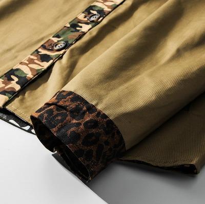 リバーシブルOBACHAN'Sパッチワークレオパードカモフラ長袖シャツジャケット