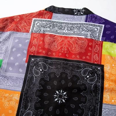 マルチカラーパッチワークバンダナ半袖シャツ