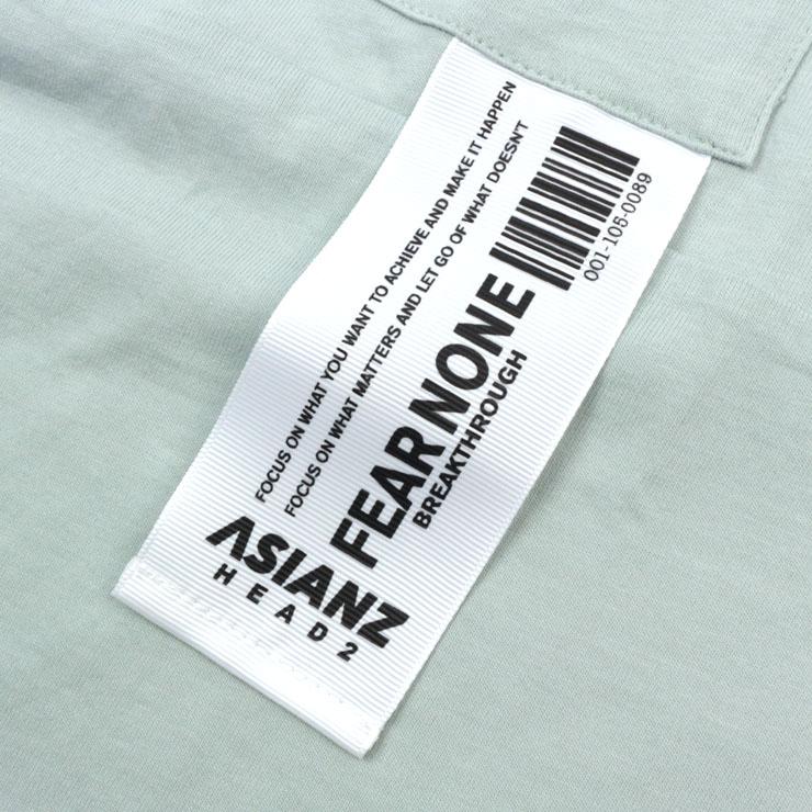 【 セール SALE 】ASIANZ HEAD2 エイジアンズヘッズ 長袖Tシャツ オフホワイトミントグリーン 胸ポケット ロゴモチーフ バックもこもこ 英字プリント 【 201601 】【 140cm 150cm 160cm 】